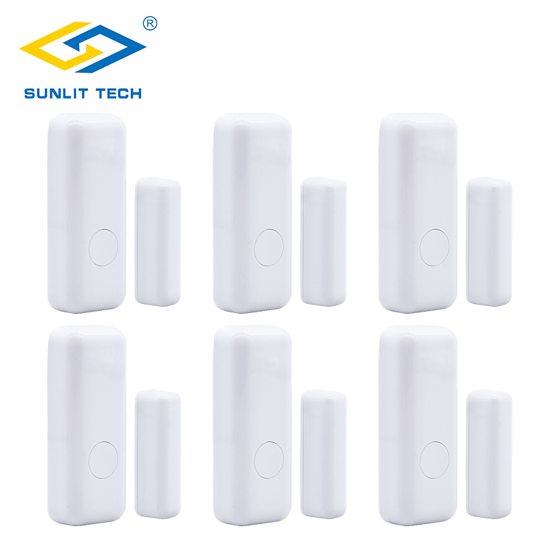 6pcs/Lot Wireless Door Window Sensor For 433MHz Wifi Door Opening Sensor Switch Detector Alarm System For Home Burglar Security free shipping for wireless shock window door detector 433mhz for gsm home burglar security alarm system zd 03