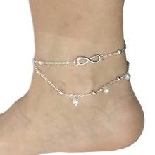 Бесконечное двойное украшение браслет с подвеской Дамы Летний ножной браслет Модные Ювелирные изделия Подарки удача 8 символов ножной браслет из бусин