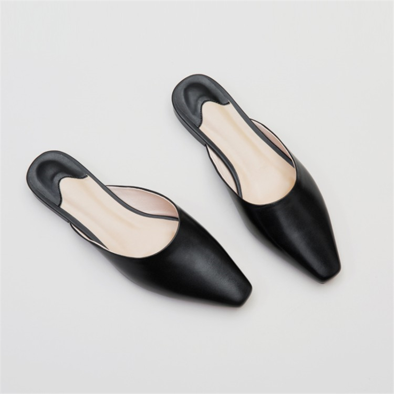 MSSTOR Square Toe White Women Slippers Square Heel Black Concise Fashion Mules Shoes Women Genuine Leather Casual Shoes Women