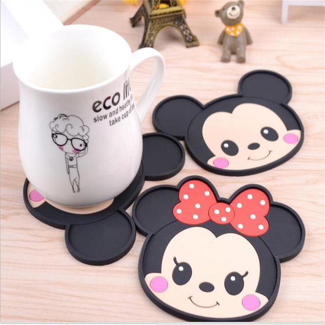 Mickey Mouse Silicone Dining Table Placemats Coaster Coffee Drinks Kitchen  Accessories Cup Bar Mug Placemats Coaster