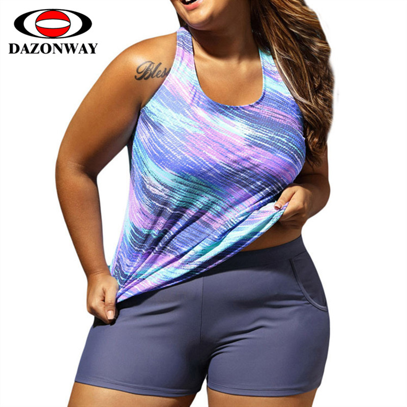 DAZONWAY Plus Size Swimwear Set Womens Fashion Printed Round Neck Cover Belly Boxer Trousers Conservative Vest Split SwimsuitsDAZONWAY Plus Size Swimwear Set Womens Fashion Printed Round Neck Cover Belly Boxer Trousers Conservative Vest Split Swimsuits