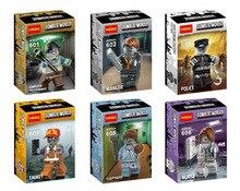Decool 601-606 Computer Programmer/Manger/Police/Sleepyhead Minifigures Building Block Kids Toy For Gift Compatible with Legoe