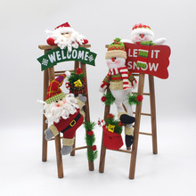 ФОТО handmade christmas decorations cloth art plush santa snowman ladder christmas scene window decoration items