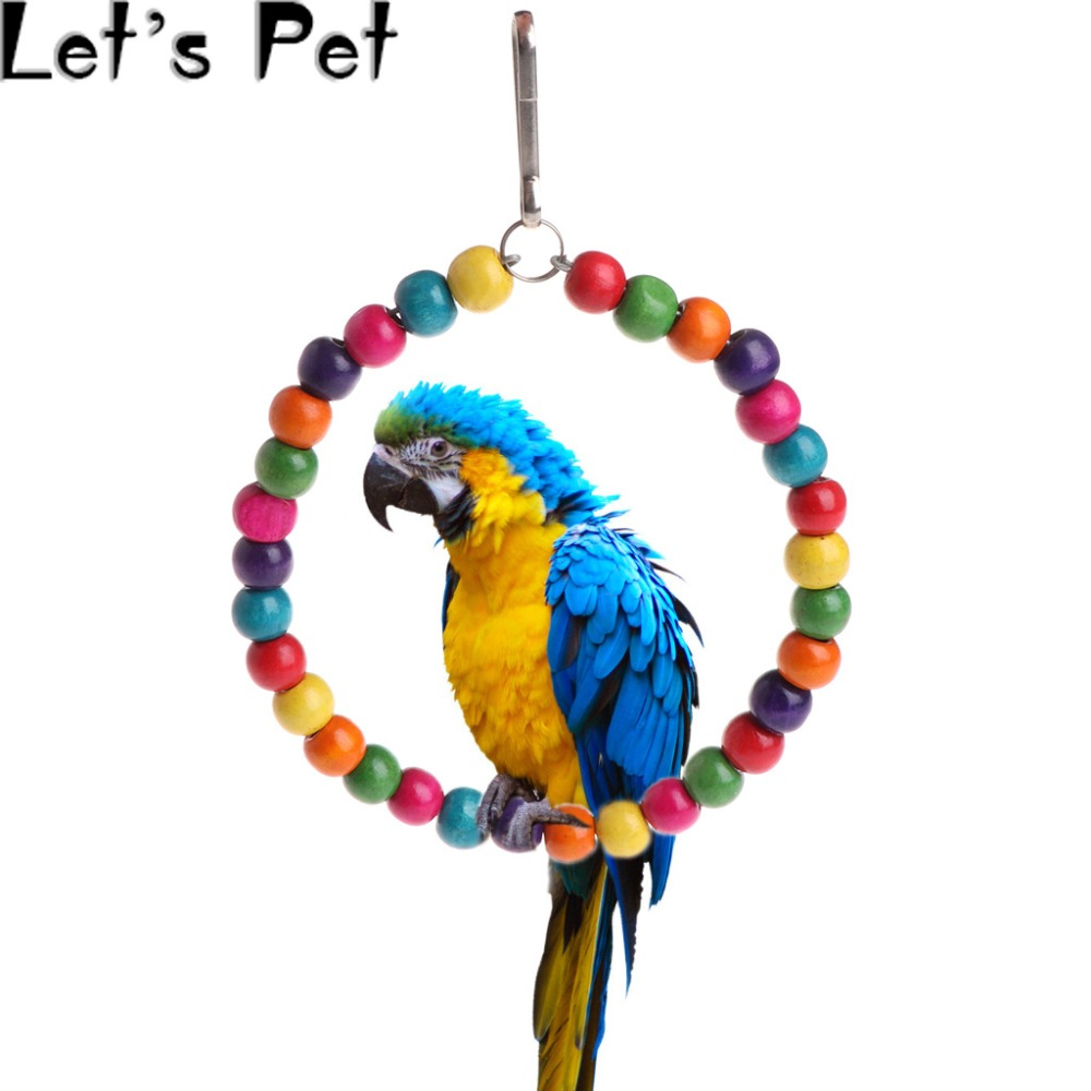 Let's Pet Wooden Birds Parrots Toys Stand Holder Hanging Swing Rings With Colorful Balls