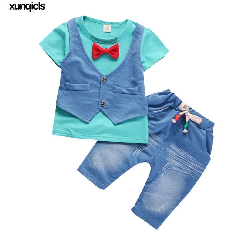 2 Stücke Anzug Baby Jungen Kleidung Kinder Sommer Kleinkind Jungen Kleidung Set 2018 Neue Kinder Fashion Casual T-shirt + Shorts Anzug
