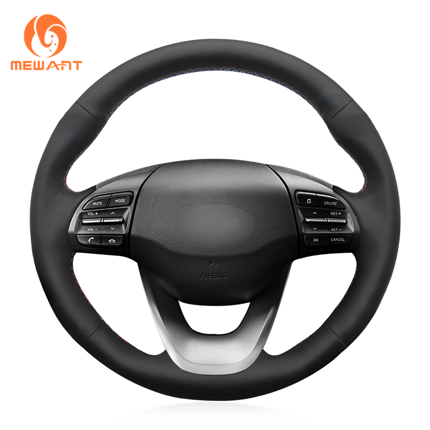 MEWANT Black Genuine Leather Soft Comfortable Durable Hand Sew Wrap Car Steering Wheel Cover for Hyundai