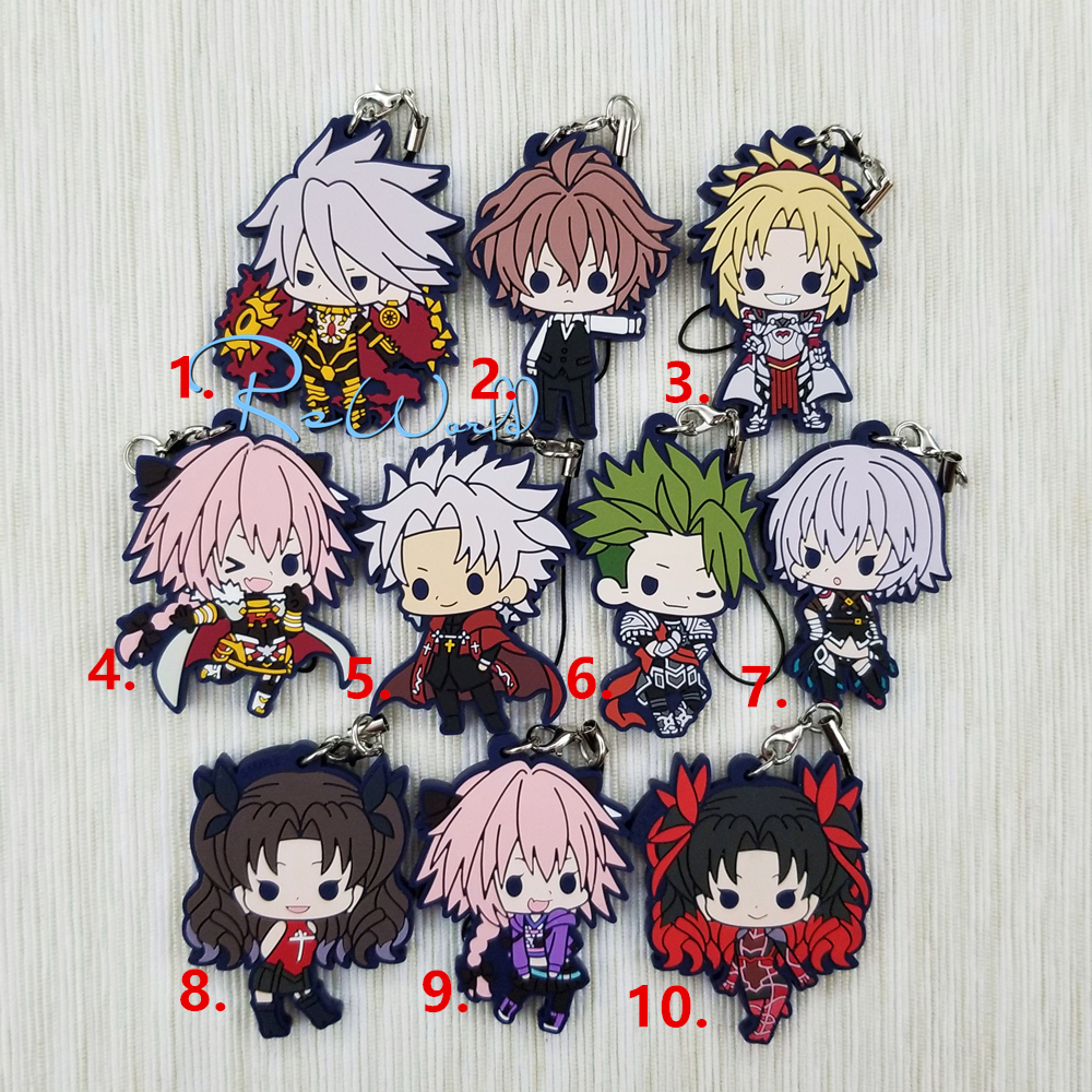 Fate/Grand Order Fate Apocrypha Anime Karna Mordred Astolfo Sieg Achilles Tohsaka Rin Jack The Ripper Beaneye Rubber Keychain