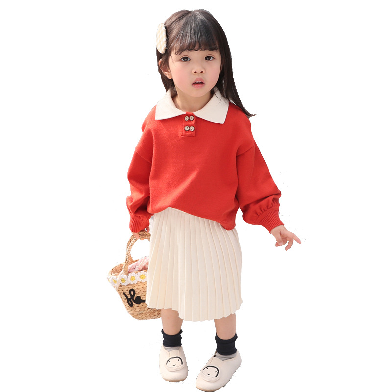 2019 Summer Girl Dress Suit Casual Kids Dresses For Girls Clothing Long Sleeves Knit Pleated Girls dress Children Clothes2019 Summer Girl Dress Suit Casual Kids Dresses For Girls Clothing Long Sleeves Knit Pleated Girls dress Children Clothes