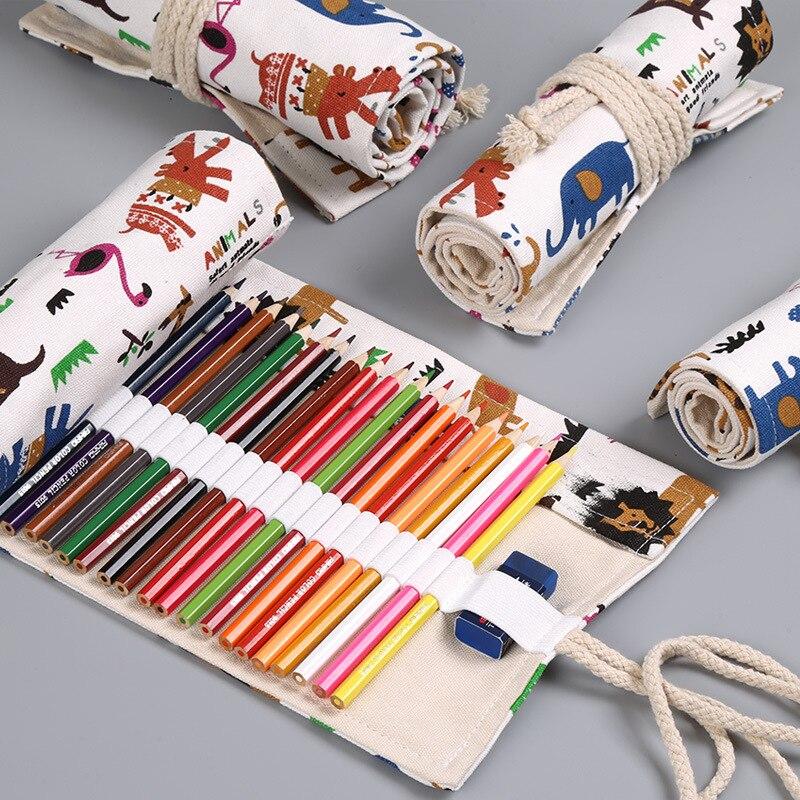 Kawaii Animal Roll Pencil Case 12/24/36/48/72 Holes Penal Cute School Pencilcase for Girls Boy Pen Bag Stationery Pouch Supplies