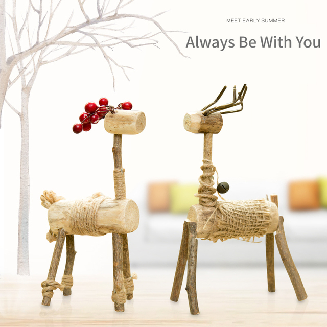 Creative Wooden Craft Table Top Decor Deer 100% Handmade Natural Wood  Office/Home Decoration
