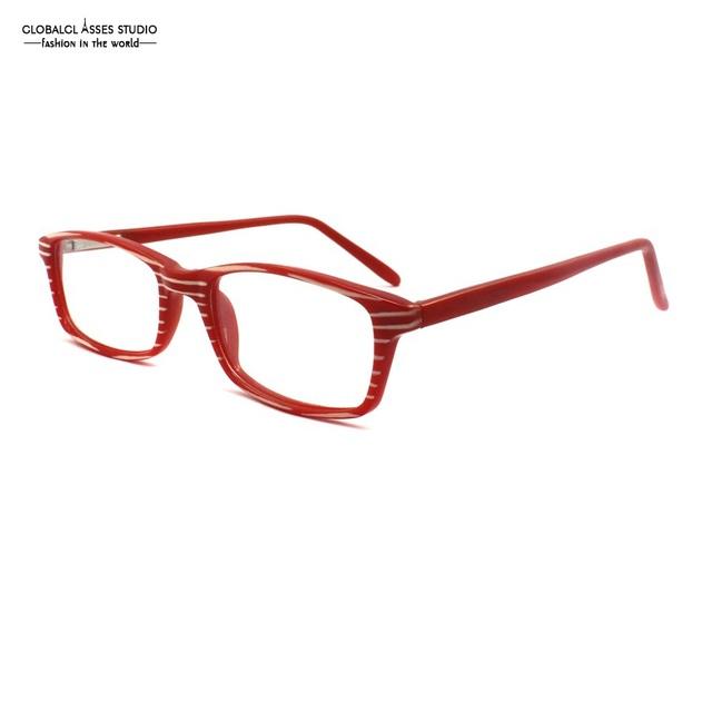 Linda Praça Lens Acetato Óculos de Armação Mulheres Cor Vermelha Listra Branca Fina Flex Dobradiça Templo Espetáculo Óculos Estudante R1025