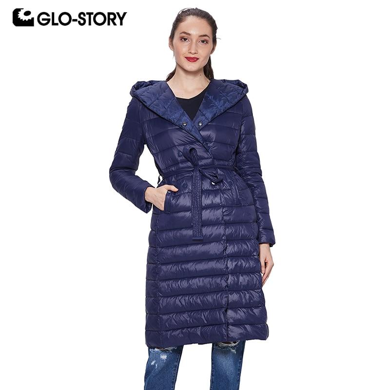 GLO-STORY Для женщин 2018 светло Вес мягкие тонкие длинные парки Женская повседневная одежда модная куртка пальто Топы с капюшоном
