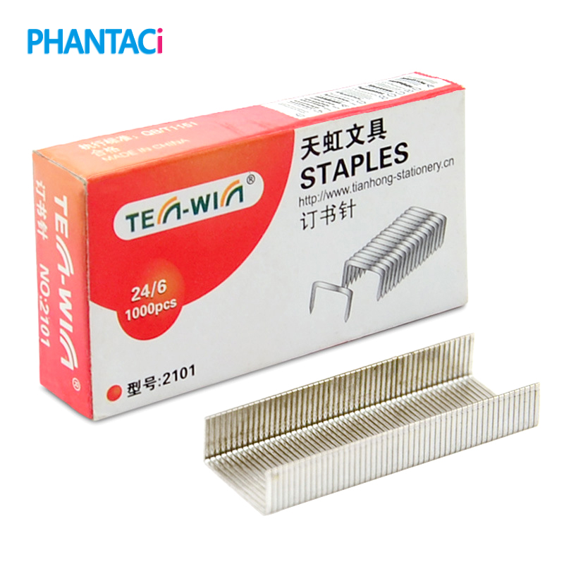 1000 Pieces TEN-WIN 24/6 Staples Office School Stationery 12 # Silver Metal Staple Finance Universal Paper Nailing Tools
