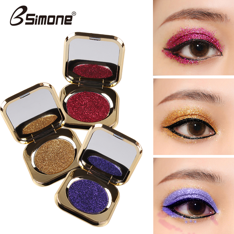 Audacious Bsimone Diamong Glitter Eyeshadow Powder Sexy Red Purple Blue Gold Silver Pigment Waterproof Shiny Metallic Eyeshadow Bs002 2019 Official Eye Shadow