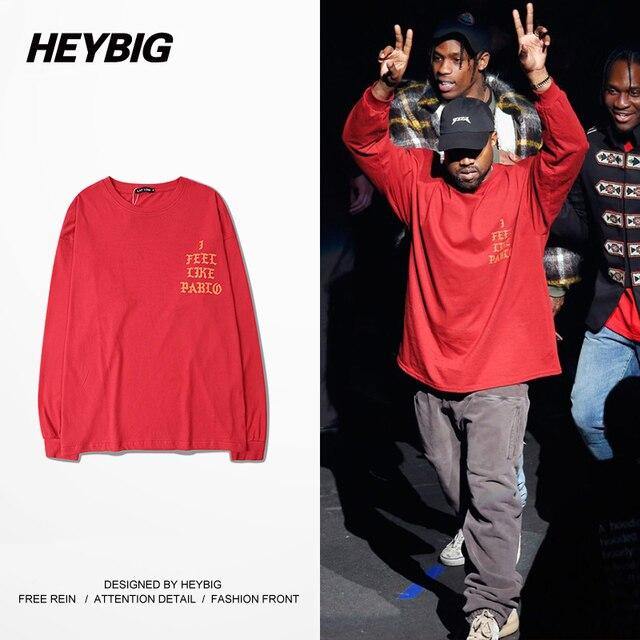 Ropa Nueva de la Llegada ropa Del Swag Hombres Heybig Kanye West Me Siento Como Pablo Temporada 3 Hiphop Camiseta China Tamaño S-3XL