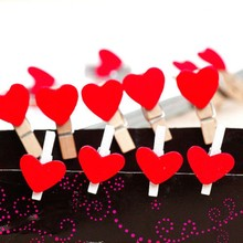 20PCS Kawaii Mini Red Lover Heart Shaped Wooden Clips Memo Book Clips School Office Clip Supplies Accessories Stationery