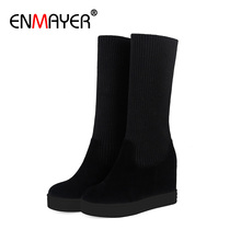 ENMAYER Increased Skinny Straight and Flanging Two Ways To Wear Genuine Leather Microfiber Round Toe Turned-over