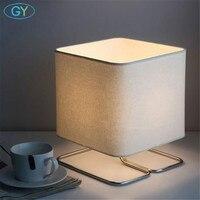 Nordic Desk Lamp Post Modern White Fabric Shade E27 table lamp Model Room Bedroom Bedside art Design Square Dimmable Table Lamp
