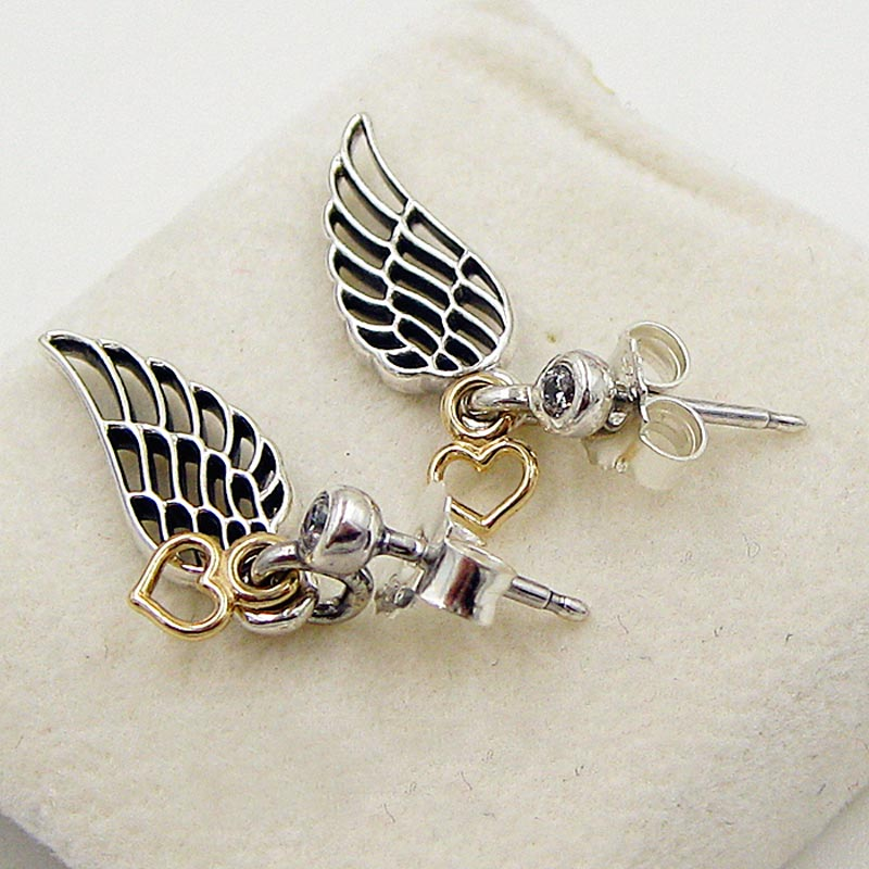 30% Silver Earring for Women Gold Love Heart & Guidance Crystal Stud Earrings Girl Birthday Gift fit Lady Jewelry