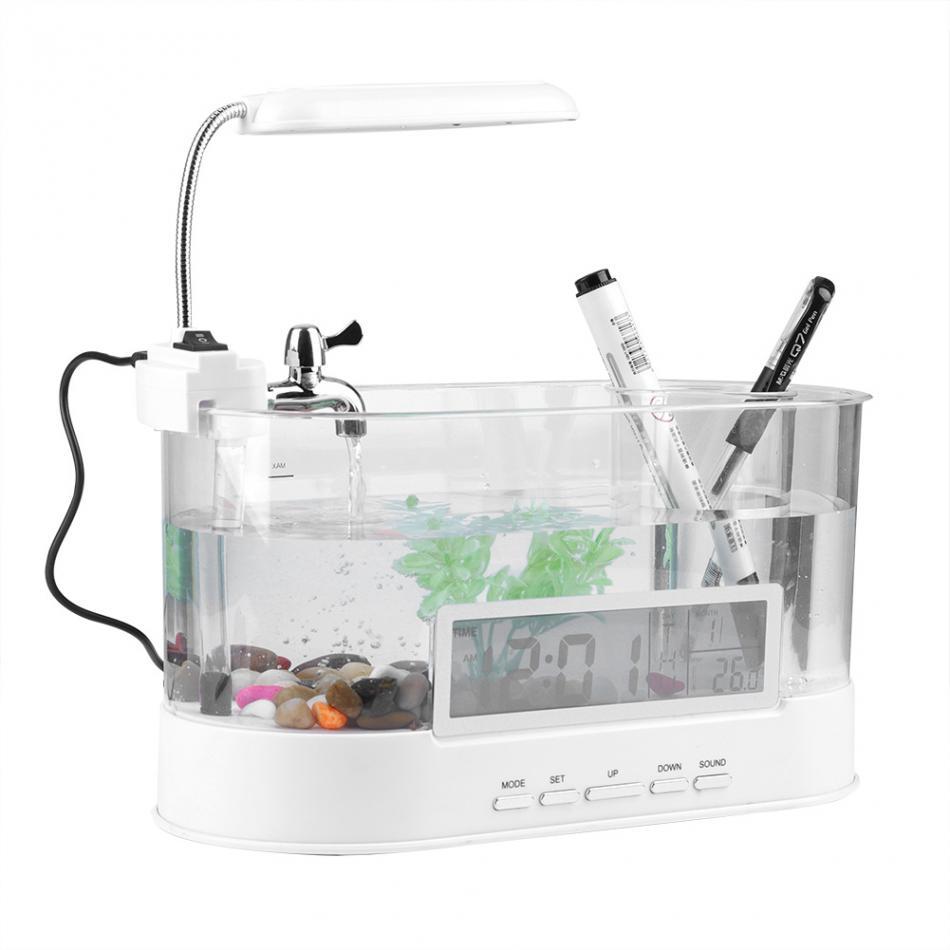 Aquarium Mini Aquarium Aquarium Aquarium avec lampe à LED écran d'affichage à cristaux liquides et horloge Aquarium Aquarium D45 - 4