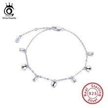 ORSA JEWELS 100% 925 Sterling Silver Girls Bracelets Round Square Shape 17cm Length Bileklik Women Jewelry Party Gift OSB38