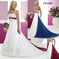 Free Shipping Custom-made FW5500 Floor Length New Arrival Satin Embroidery A Line Empire White And Red Wedding Dress