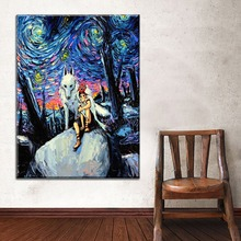 Top-Rated Canvas Print Princess Mononoke And Wolf Artistic Abstract Oil Painting 1 Piece Wall Art Decor Style Poster Framework цена в Москве и Питере