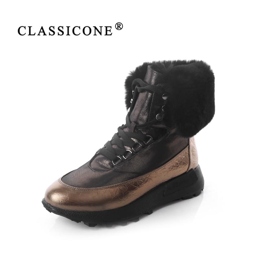 CLASSIOCNE/обувь, сникерсы, женские зимние ботильоны, зимняя обувь из натуральной кожи, теплая шерстяная обувь на плоской подошве, брендовая модн