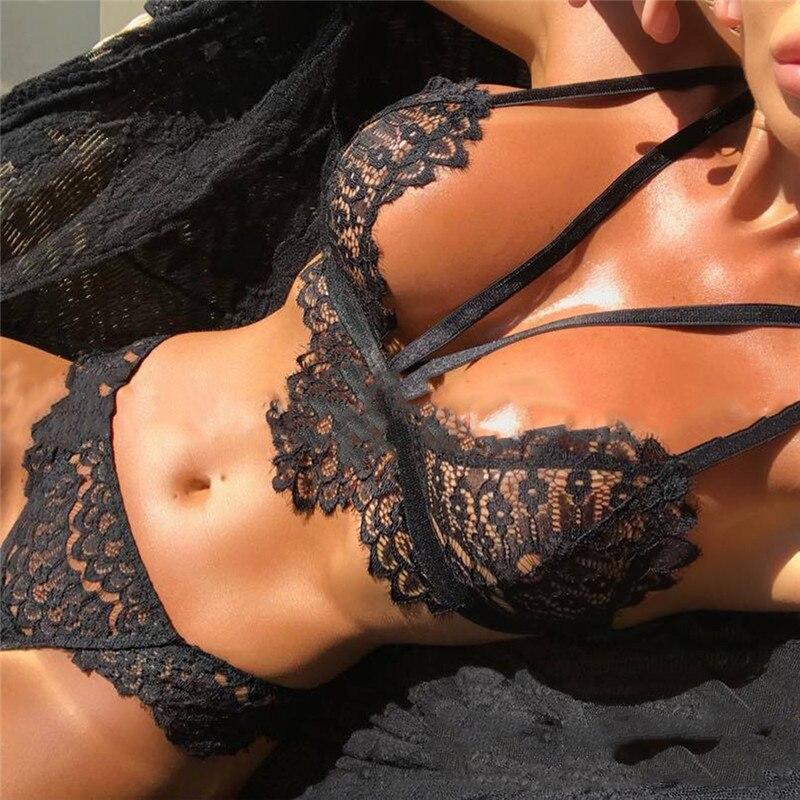 Ladies Sexy Lace Bikini Set Fun Seamless 3/4 Cup Adjustable Tape Perspective Bra Panties Set