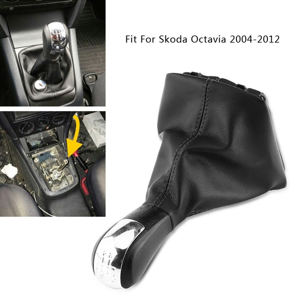 5 Speed Car Gear Shift Knob Gearstick Gaiter Boot Kit For Skoda Octavia 2004-2012