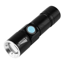 2000LM Q5 LED waterproof Super Bright Tactical Rechargeable USB Flashlight Torch Zoom Adjustable