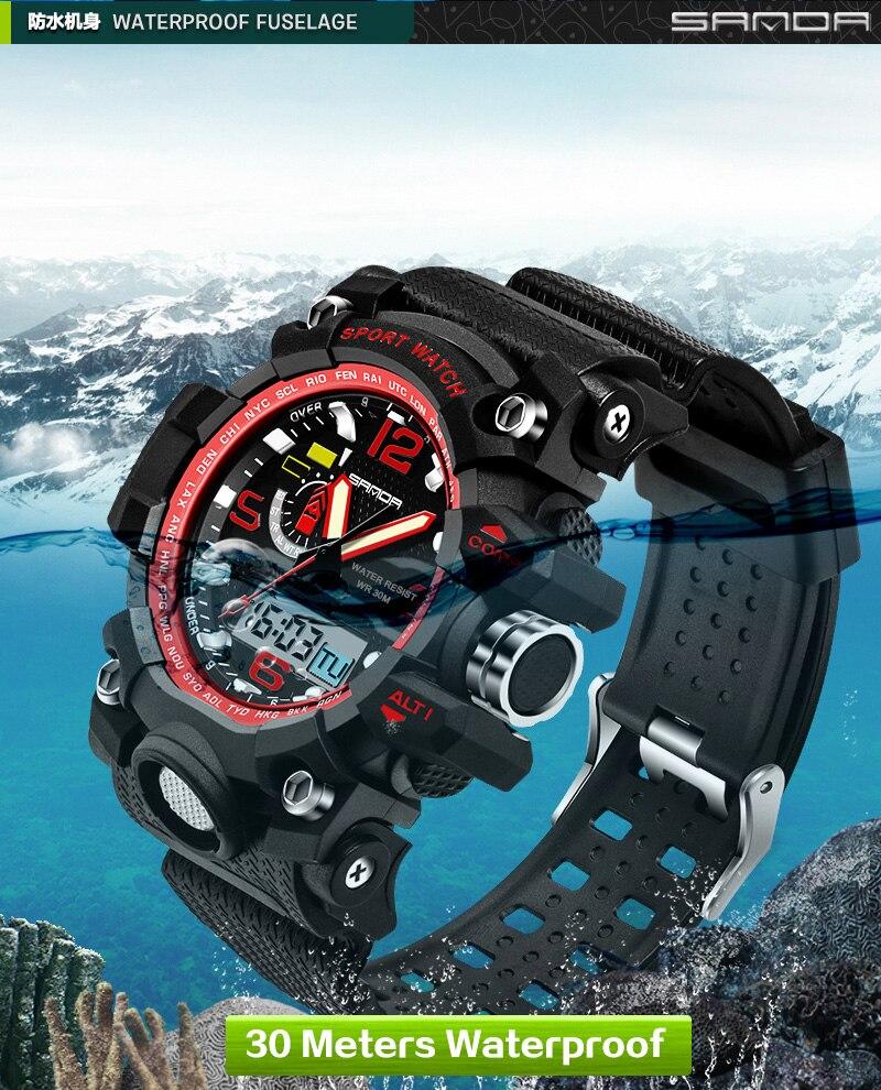 Relojes para hombre 2016 Sanda reloj de moda Hombres estilo G deportes  impermeables relojes militares shock lujo analógico digital deportes Relojes.     0032fa6686a7