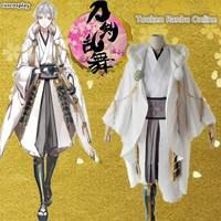 Hot Selling Tsurumaru Kuninaga Cosplay Full Set Touken Ranbu Online White Samurai Polyester Costume