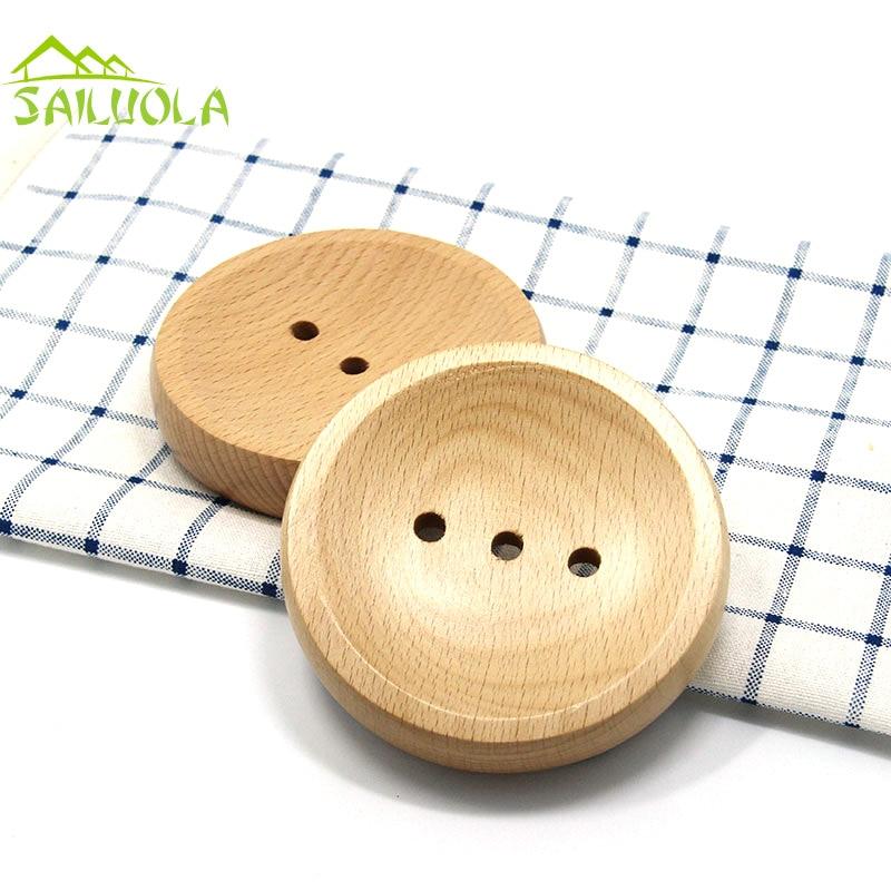 Japonský styl světle kulaté dřevěné mýdlo misky zásobník dřeva mýdlo držák pro sprchové koupelnové doplňky L10-W10-H2CM
