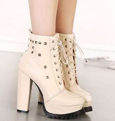 Envío libre 2015 Euramerican 11-free Adultos zapatos de mujer botas cortas plataforma bombas de dama de la moda de invierno gruesa talón remaches botín