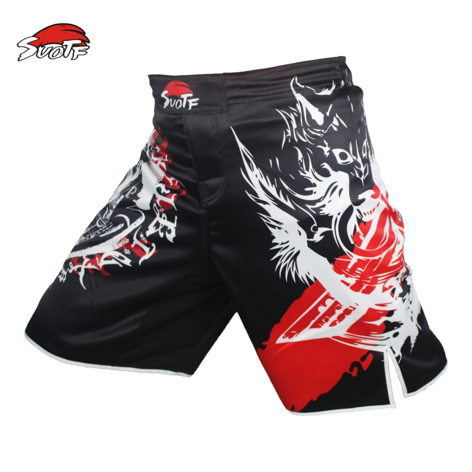 SUOTF MMA boxing knife wolf movement cotton loose size training kickboxing shorts mma fight shorts muay thai boxing  mma shorts