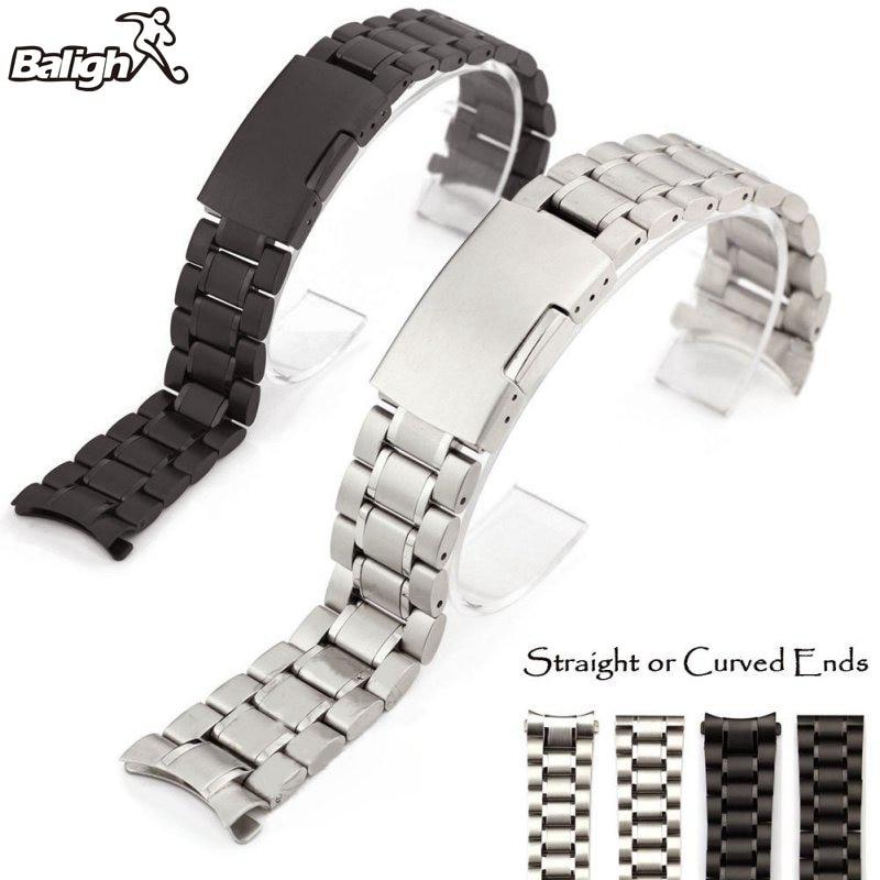 цена Men Watch Band Strap Stainless Stell Deployment Clasp Speed Master Wrist Women Band 18mm 20mm 22mm 24mm онлайн в 2017 году