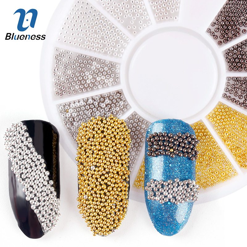 Blueness 1 Box Mix 4 Color Steels Beads Studs For Nails Metal Caviar Design Wheel Charms 3D Decorations Nail Art Supplies ZP314 1 box ab clear transparent nail art decoration mini glass tiny caviar beads 0 6 2mm ab crystal glass look caviar beads 4 sizes