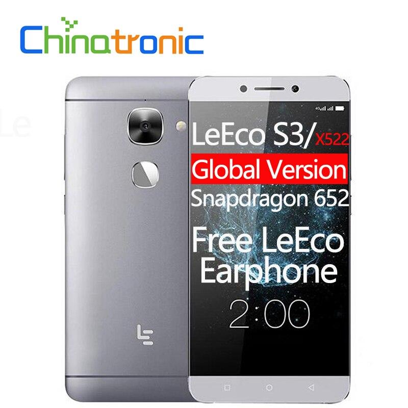 "Глобальная версия LeEco Le S3 LeTV X522 мобильный телефон fdd, LTE Восьмиядерный Snapdragon 652 5,5 ""FHD 3G RAM 32G ROM 16MP отпечатков пальцев"