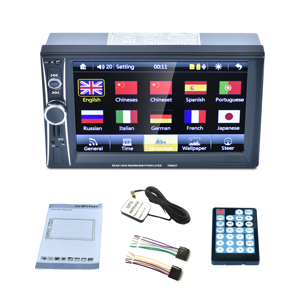 7 HD 2DIN Car Radio Audio Stereo Bluetooth MP5 Player GPS Navigation Support USB/TF/AUX AUX FM Radio 8G MAP Card autoradio