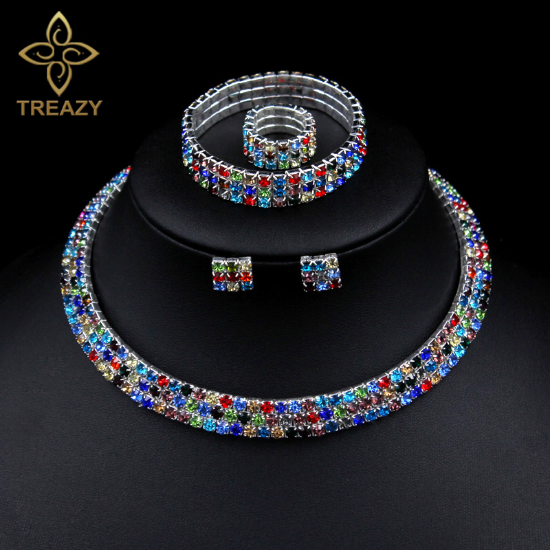 TREAZY Classic 3 Row Rhinestones Colorful Crystal Necklace