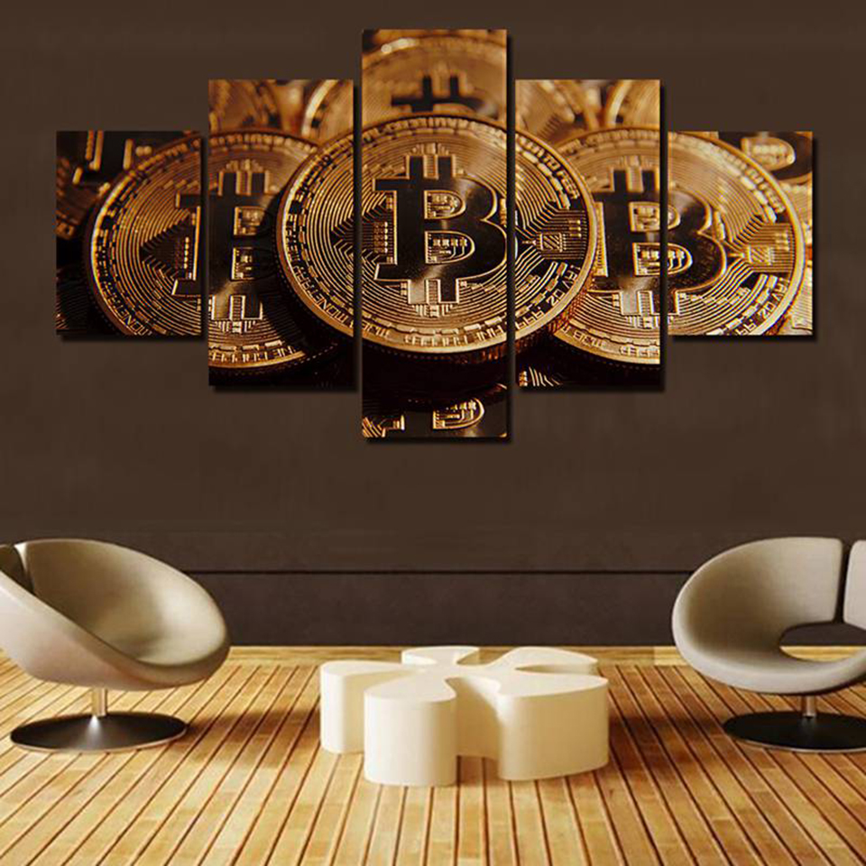 Art Canvas Poster Print Wall For Living Room 5 Pieces Pcs Bitcoin Painting HD Home Decoration Framework Modular Pictures in Painting Calligraphy from Home Garden