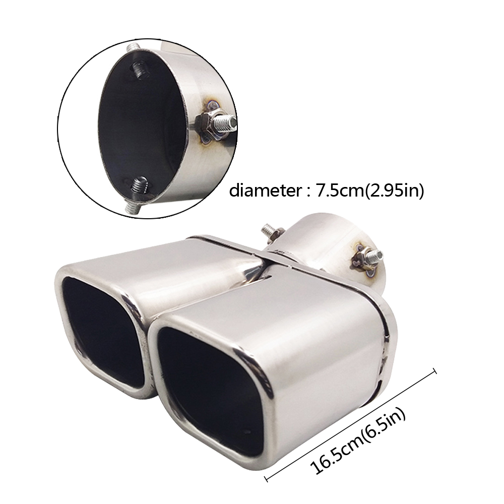 Car Accessories For Toyota Highlander KIA Sportage Car Auto Round Exhaust Muffler Tip Stainless Steel Exhause 1 to 2 Dual Pipe stylish stainless steel car exhaust pipe muffler tip for santana toyota mazda chery more