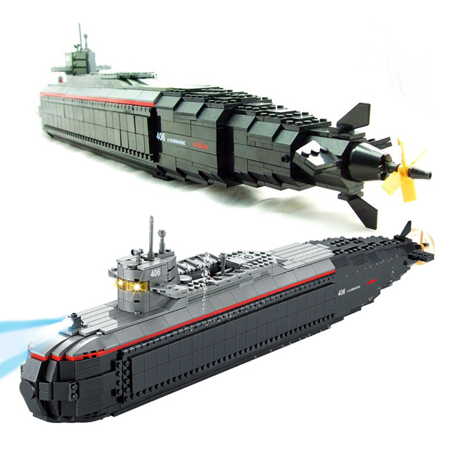 Model building kits compatible with lego city nuclear-powered submarine 1003 3D blocks Educational toys hobbies for children sluban military series nuclear submarine and service stations model building blocks toys for children compatible with legoe sets