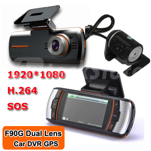 "F90 H.264 Dual Lens Car DVR Video Recorder W/2.7"" TFT 158 Wide Angle View Rear View Camera Full HD1080P"