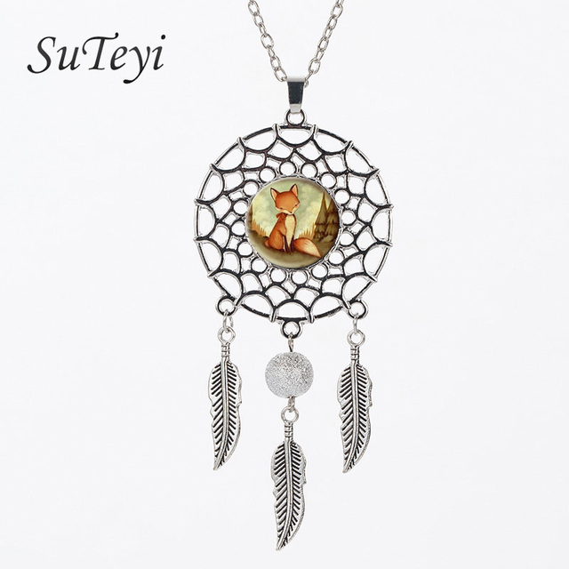 SUTEYI Vintage style Fox Wiggling Feather Pendant  Woodland Creature Watercolor Art Glass Necklace Dream Catcher jewelry Gift