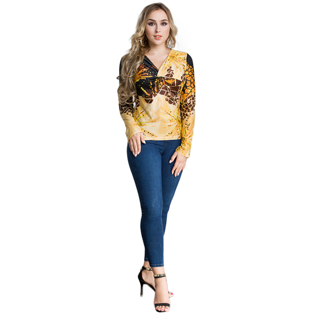 b34214f922a New Fashion Women Plus Size Leopard Print V Neck Long Sleeve T-Shirt  Twisted Front Oversize Casual Party Tops Pullover Yellow