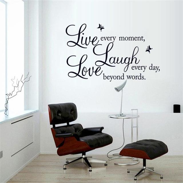 Live Laugh Love Wall Stickers Home Decor Quote 3D Butterfly Wall Decor  Transparent Border Living Room