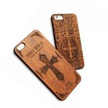 Funda de madera natural Retro para iPhone 7 6 6s Plus 5 5S SE funda de calidad superior cráneo en relieve genuino de madera + Fundas duras para teléfono Capa