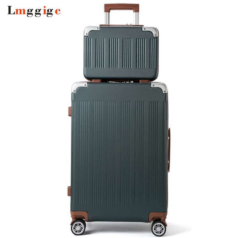 New Rolling Suitcase bag set,Travel Luggage with Handbag ,Women Trolley Case with Wheel, ABS Carry On, Fashion Box